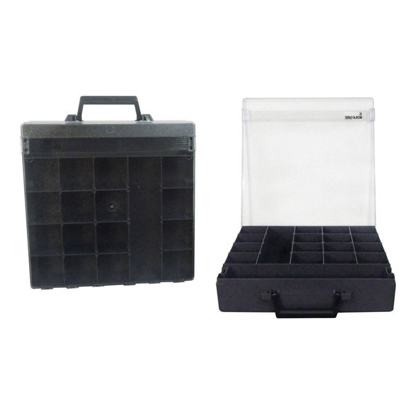 Rolacase With 6 Dividers, Charcoal With Clear Lid