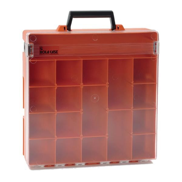 Rolacase With 6 Dividers, Orange With Clear Lid